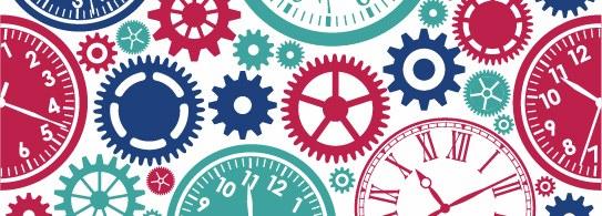 Clocks and gears mosaic.