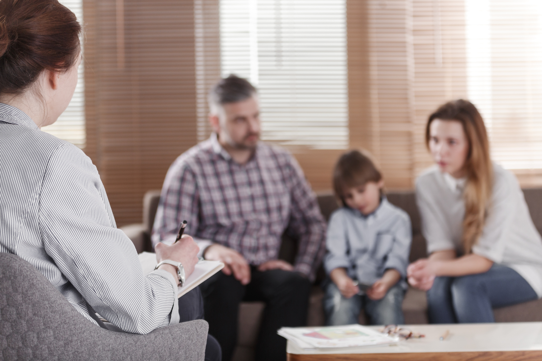 Family meeting with therapist