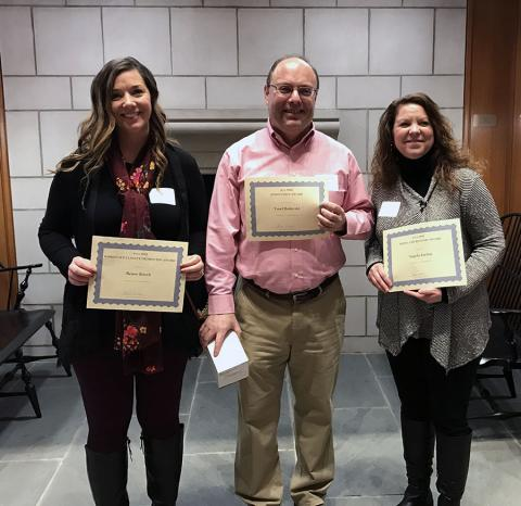 Photo of Renee, Yosef, and Angela holding award certificates.