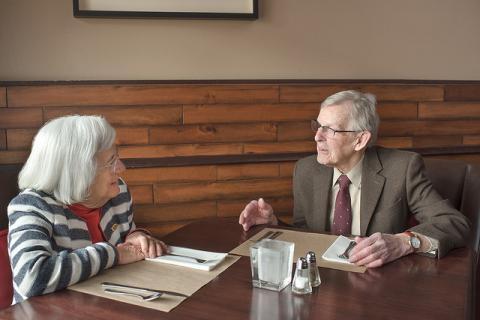 Photo of Gordon DeJong with Mimi Barash Coppersmith at The Deli Restaurant.