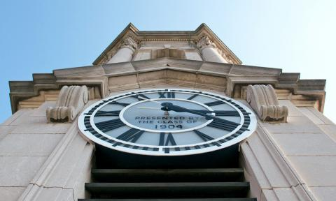 Photo of the Old Main Bell Tower Clock on the University Park campus.