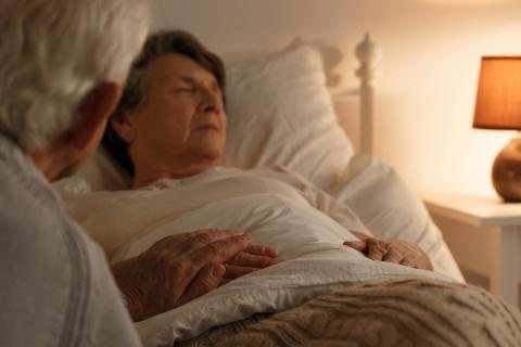 Photo of an older woman in bed sleeping with a man sitting next to her and holding her hand.