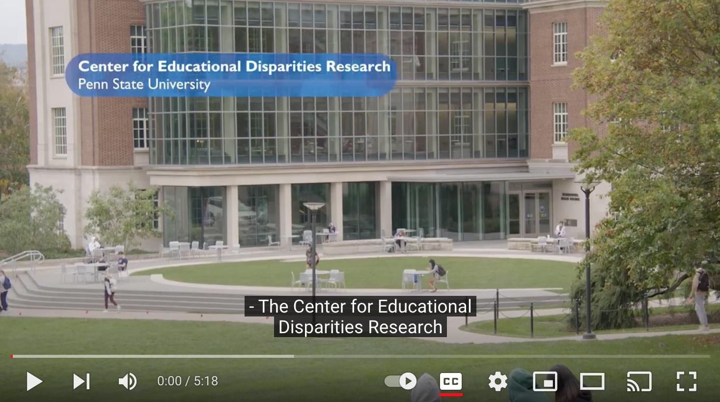 Screen shot of CEDR video showcasing the Biobehavioral Health Building
