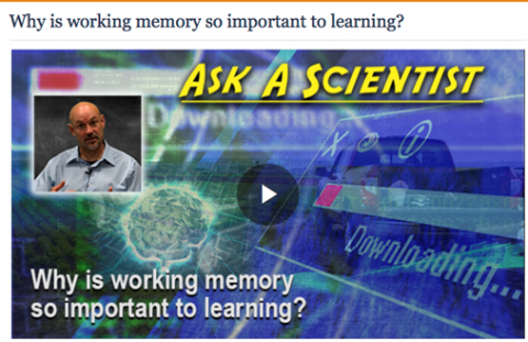 """Screenshot of the video with the words """"Why is working memory so important to learning?""""."""