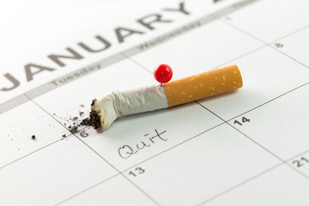 Cigarette stub and January calendar.