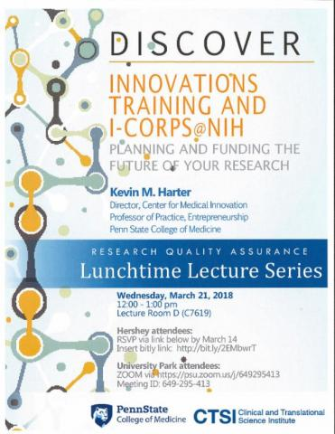 """A poster for """"Innovations Training and iCorps @ NIH: Planning and Funding the Future of Your Research"""" with details as listed."""