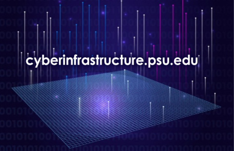 """Graphic with 1s and 0s and the words """"cyberinfrastructure.psu.edu""""."""