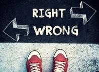 """Photo of children's shoes standing on a sidewalk with the words """"Right"""" and """"Wrong"""" and arrows pointing right and left."""