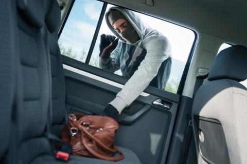 Photo of a person wearing a mask, gloves, and hooded sweatshirt taking a purse from a car.