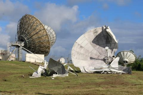 Photo of large satellite dishes destroyed by Hurricane Maria.