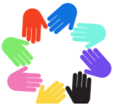 Multi colored circle of hands