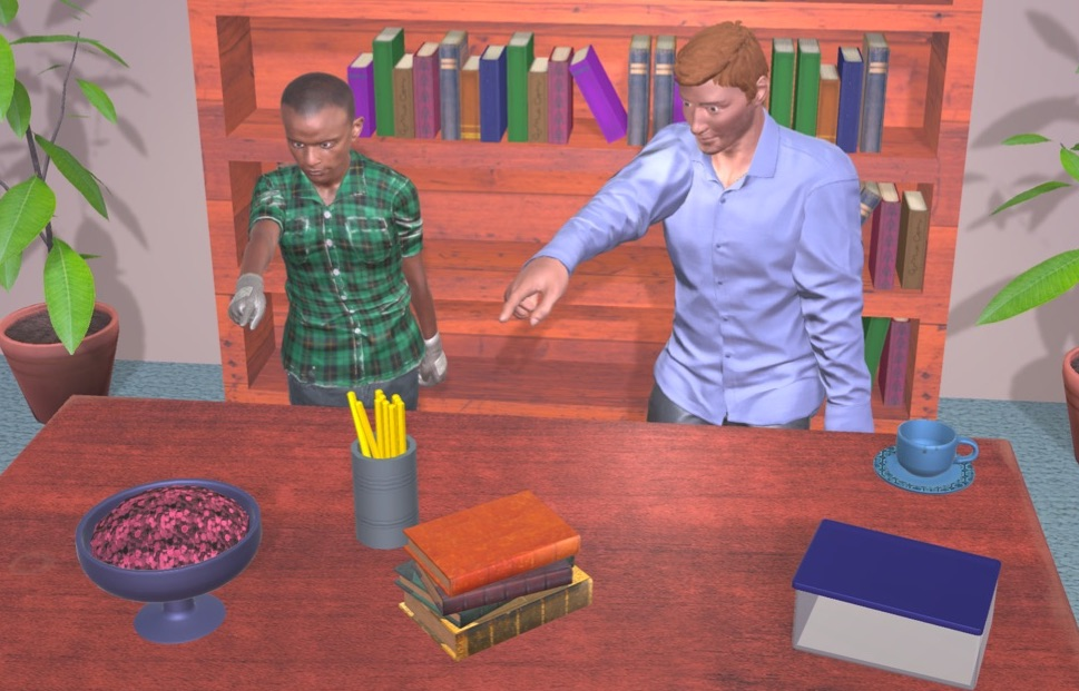 Two humanoids in computer game pointing to an object on a table.