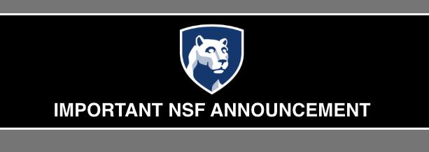 NSF Announcement