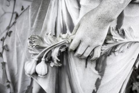 Black and white photo of a statue with a hand holding plants.
